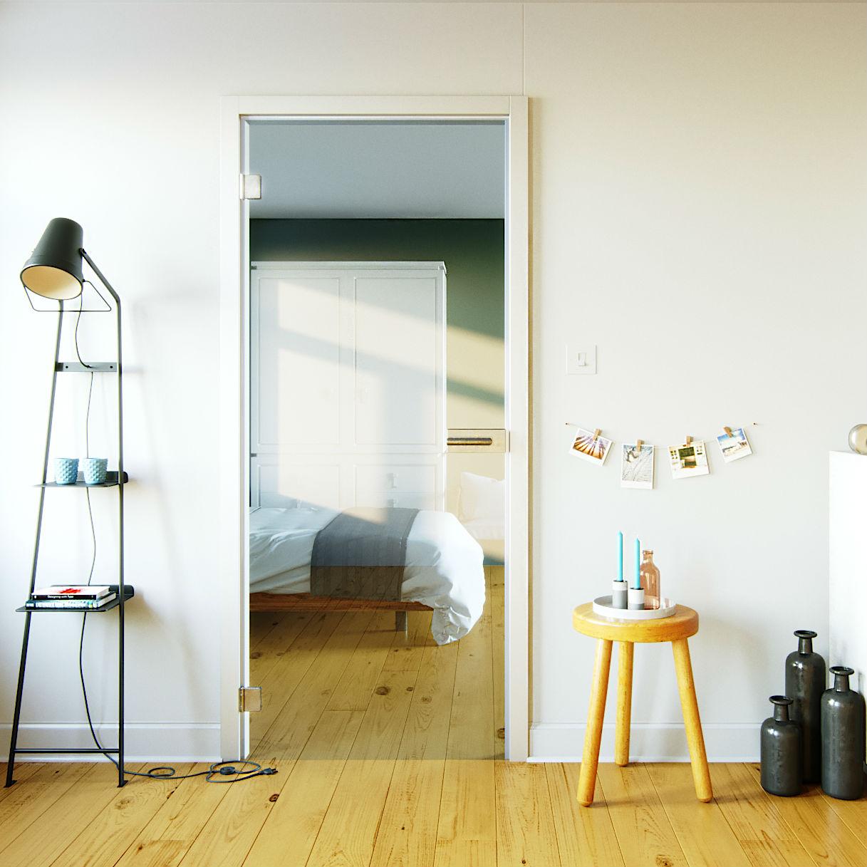 Glazen binnendeur voor houten kozijn